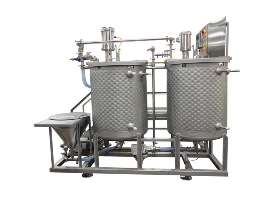 Side View of Brine mix System with Dual Jacketed Tanks